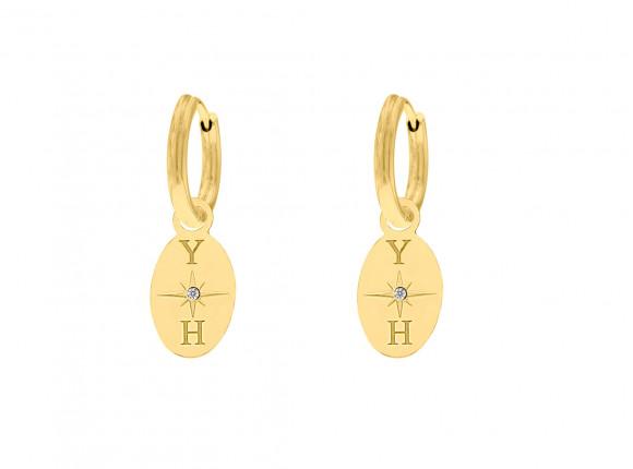 Oorbellen 2 initialen ovaal goud kleurig