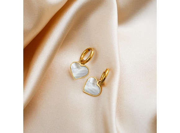 Oorbellen sea shell hartje goud kleurig