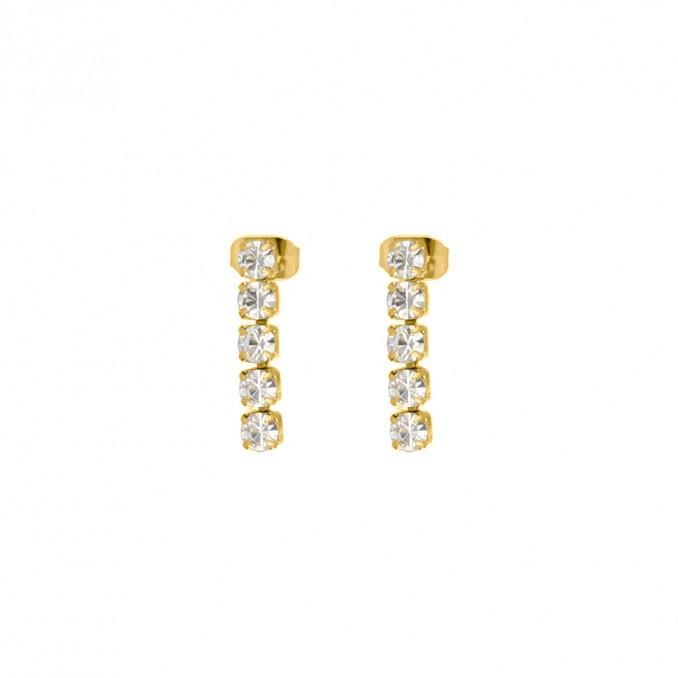 Tennis earrings goud kleurig