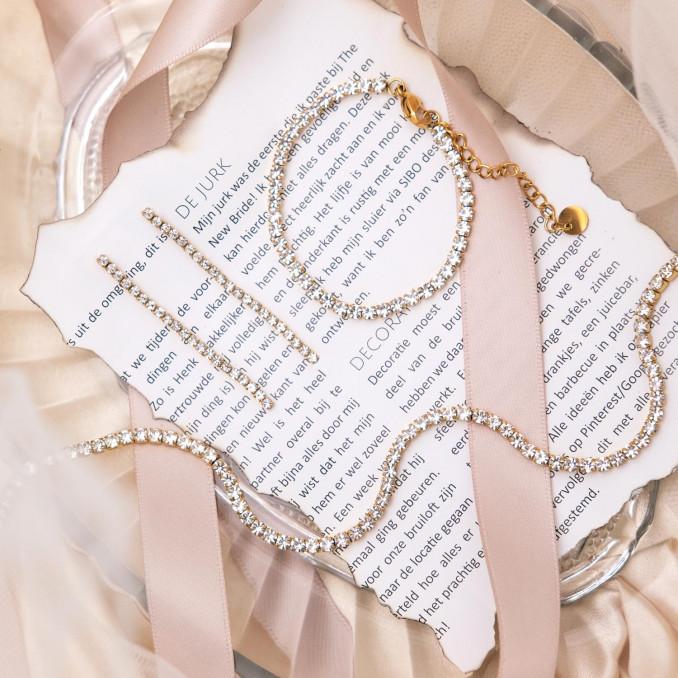 Trendy gouden sieraden set van de tennis collectie