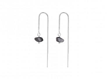 Fijne oorbellen met hematiet zilver