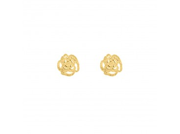 Stud oorbelletjes roosjes goud