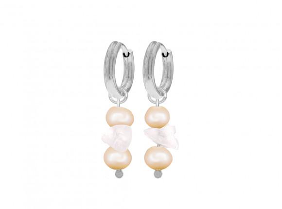 Zilveren parel oorbellen met rozenkwarts