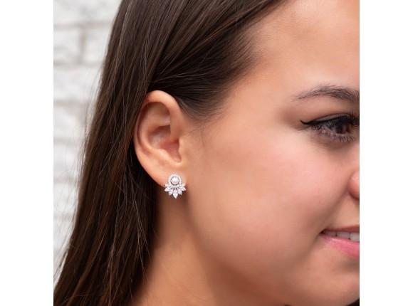 Parel oorbellen voor de bruid met steentjes