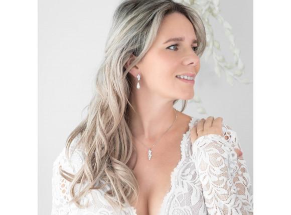 Sparkle oorbellen met faux pearl in ivoor kleur