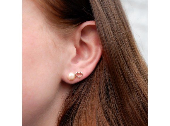 Parel oorbellen studs peach