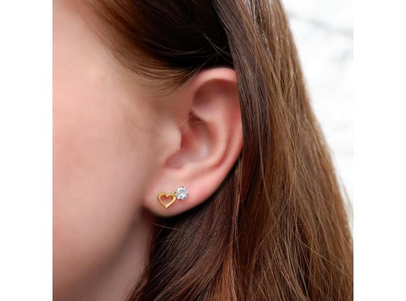 Stud oorbellen met steen goud