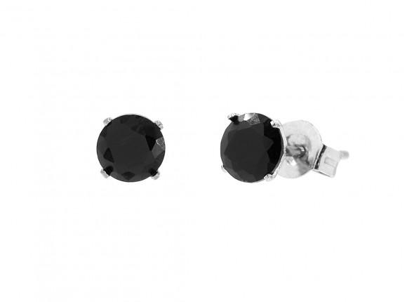 Stud oorbellen met zwarte steen zilver