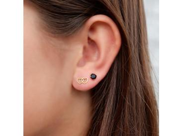 Stud oorbellen met zwarte steen goud