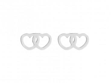 Hartjes oorbellen dubbel zilver