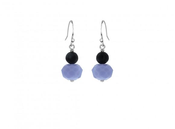 Parel oorbellen blauw