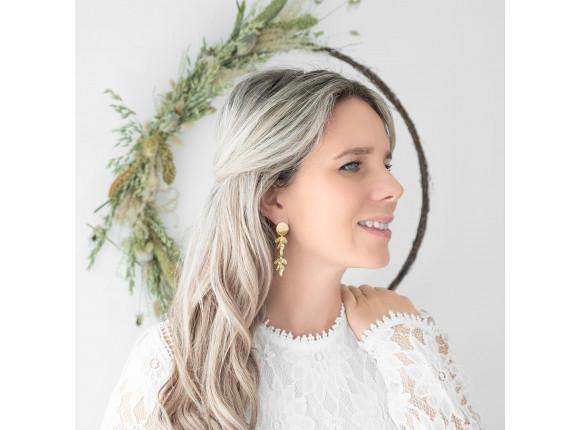 Bohemian parel oorbellen in het goud voor de bruid