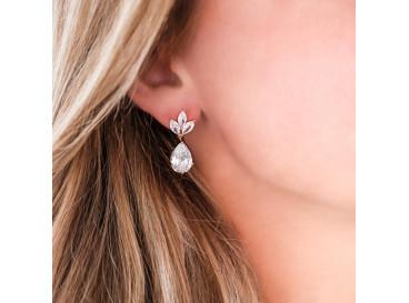 Hanger oorbellen druppel voor de bruid rose verguld