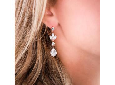 Hanger oorbellen voor de bruid rose verguld