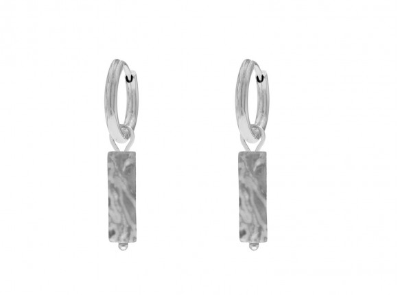 Oorbellen met grijs steentje kleur zilver