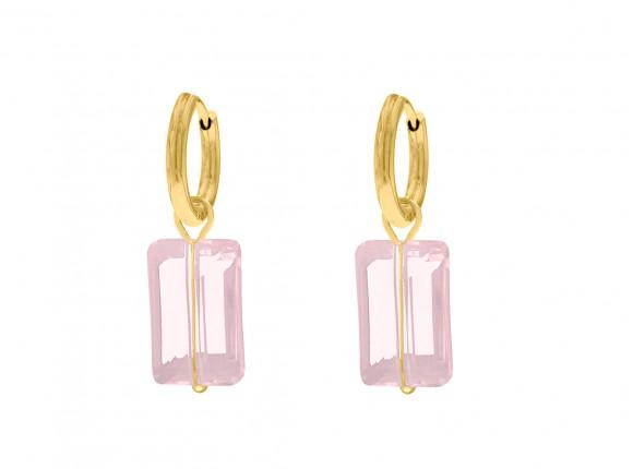 Oorbellen met roze steen kleur goud