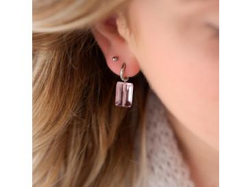 Oorbellen met roze steen kleur zilver