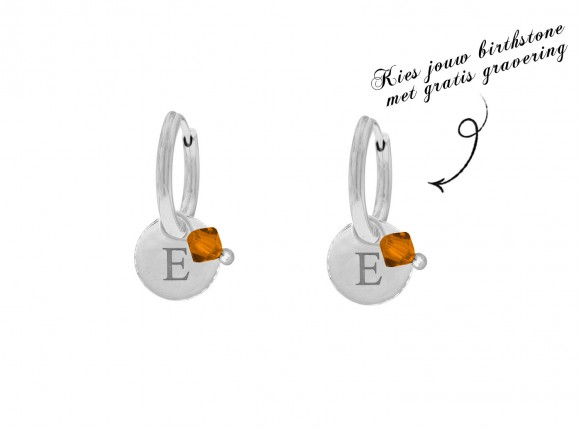 Graveerbare oorbellen swarovski birthstone