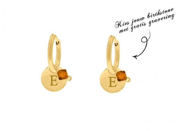 Graveerbare oorbellen swarovski birthstone goud kleurig