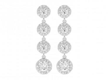 Lange zilveren sparkle oorbellen elegant