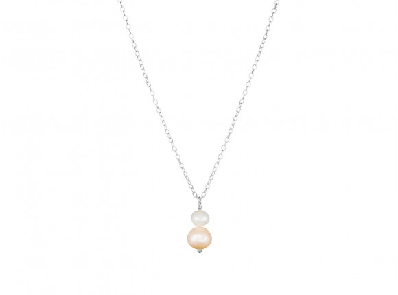 jara double peach pearl silver necklace