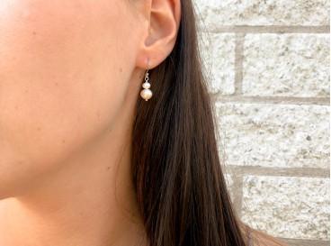jara double peach zilveren oorbellen