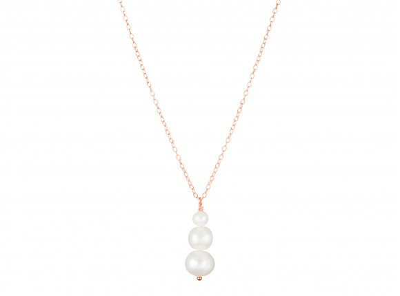 Elegant rose gold handmade necklace with three ivory pearls