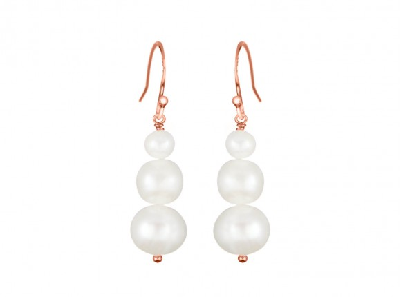 Beautiful Rose Gold Earrings with three freshwater pearls