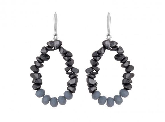 Prachtige hematiet steen oorbellen met grijze facetgeslepen glaskralen