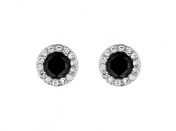 Black Crystal Oorbellen Zilver