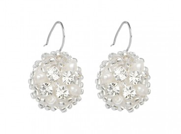 Royal Round Silver Earrings Ivory