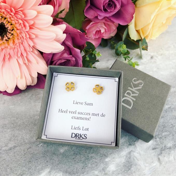 Gouden clover oorbelletjes