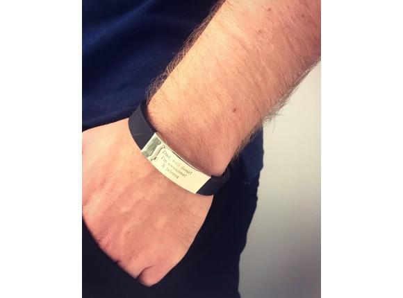 Zwarte graveerbare heren armband