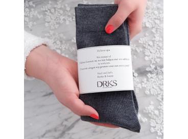 Grijze sokken met persoonlijke tekst