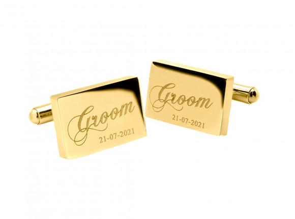 Manchetknopen met Datum Groom Goud kleurig