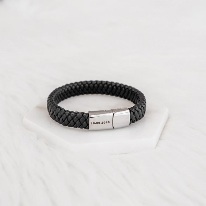Armband met datum gegraveerd voor mannen