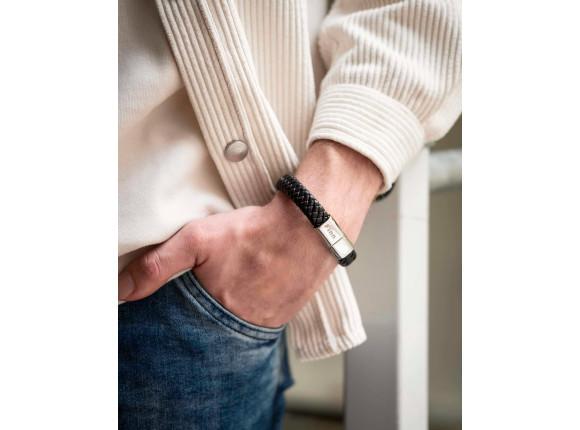 DRKS Leren Heren Armband Zwart