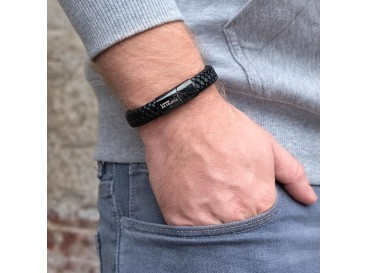 Graveerbare Leren Mannen Armband Zwart