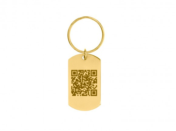 Sleutelhanger met QR code Goud kleurig