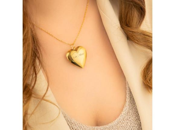 Medaillon ketting graveerbaar hart goud kleurig