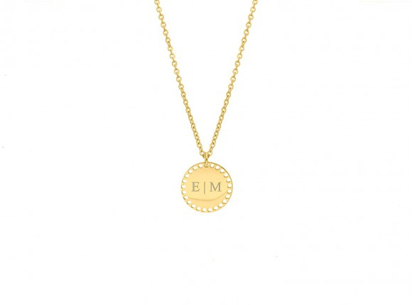 Graveerbare ketting met muntje goud kleurig