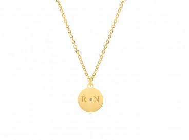 Ketting 2 initialen steentje kleur goud