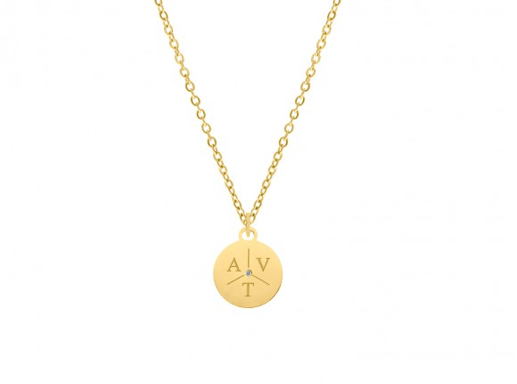 Ketting 3 initialen steentje kleur goud