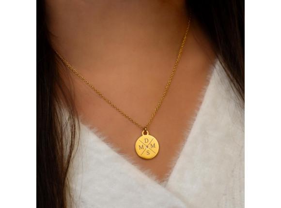 Ketting 4 initialen steentje kleur goud