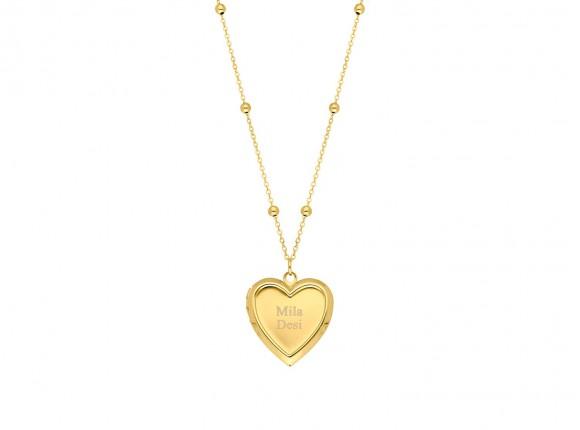 Medaillon ketting hartje met gravering goud kleurig