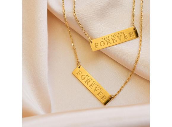 Best sisters forever ketting goud kleurig
