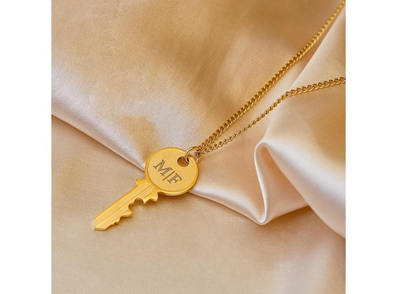 Ketting graveerbare sleutel Unisex kleur goud