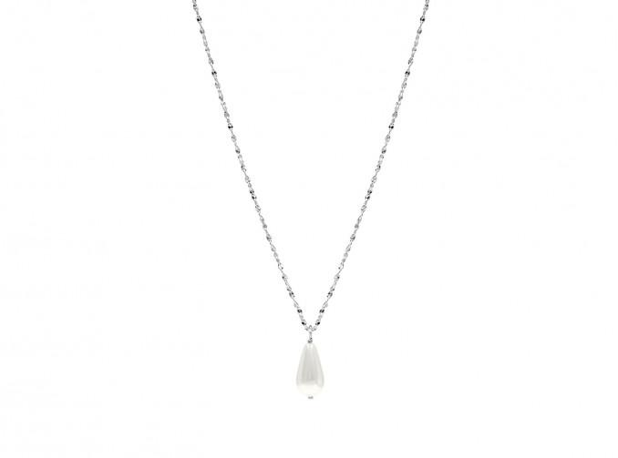 Zilveren parelketting met druppelvormige hanger