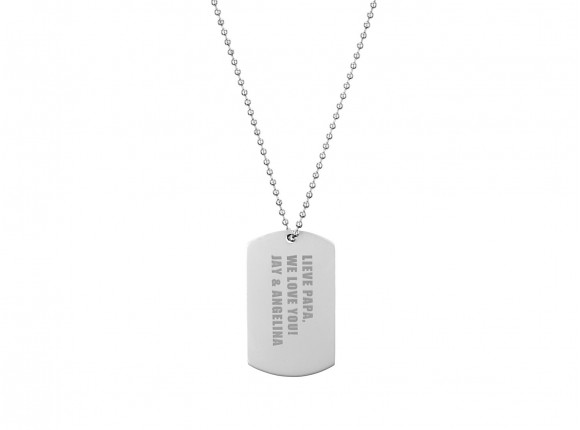 Mannen ketting Name Tag Zilver