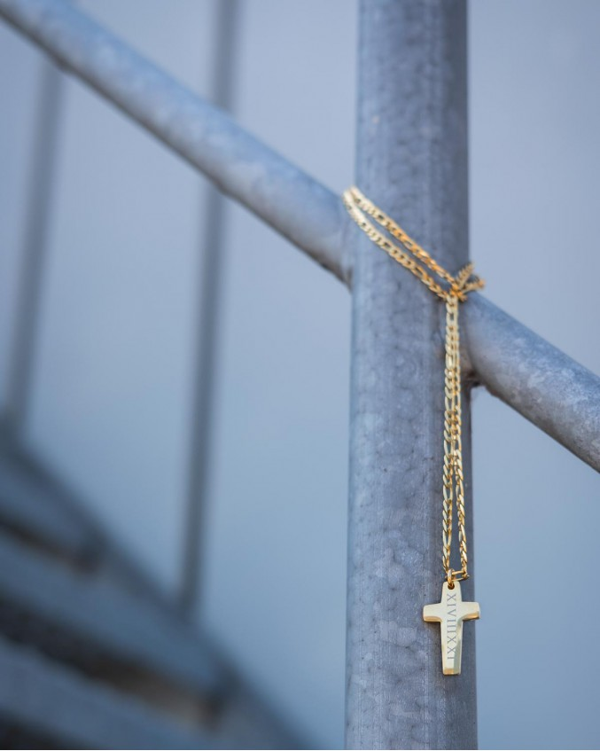Kruis ketting personaliseren man goud kleurig